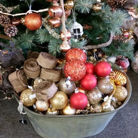 Baskets of Christmas Balls